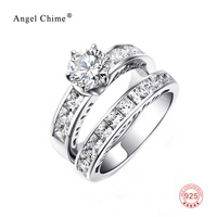 High End Heart Arrows CZ Crystal Wedding Rings For Women 2 In 1 925 Sterling Silver