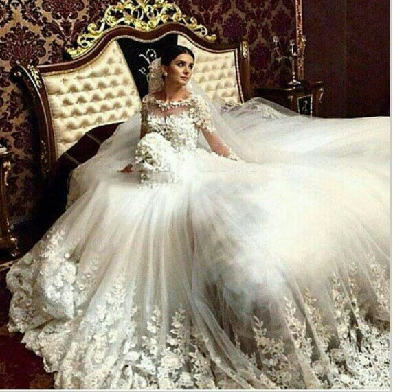 Real Wedding Gowns Sheer Crew Neckline Lace Appliques Beading Pearls Ball Gown Court Train Dresses 2016 Arabic
