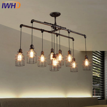 Iron Water Pipe Vintage Industrial Pendant Lights Loft Pendant Lamp Creative Hanglamp Fixtures Home Lighting Lamparas Colgantes 10pcs wholesale price d80mmxh300mm black iron long cage industrial pendant lamp vintage brass socket lighting fixtures for home