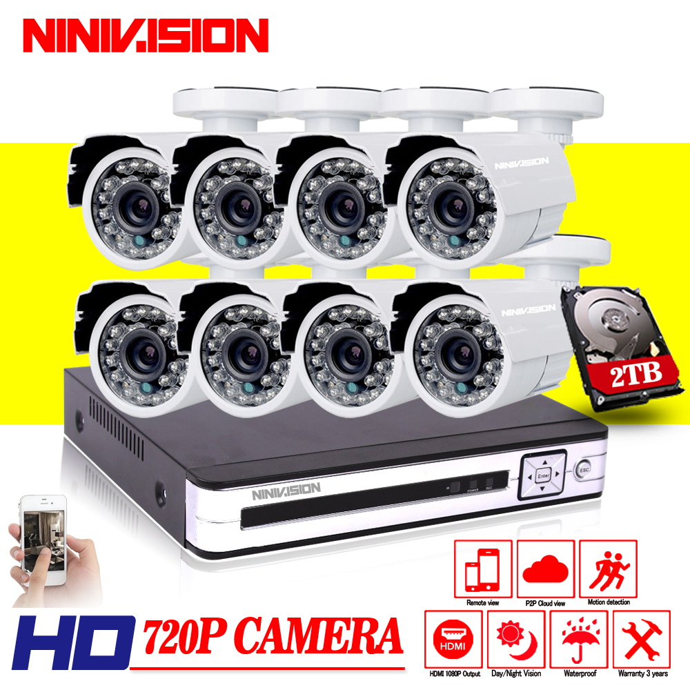 8CH 1080P HDMI DVR 2000TVL 720P HD Outdoor Security Camera System 8 Channel CCTV Surveillance DVR Kit 1.0MP AHD Camera Set