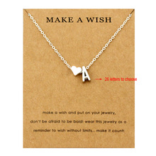 Heart Initial Pendants Necklaces Personalized Letters Neckla