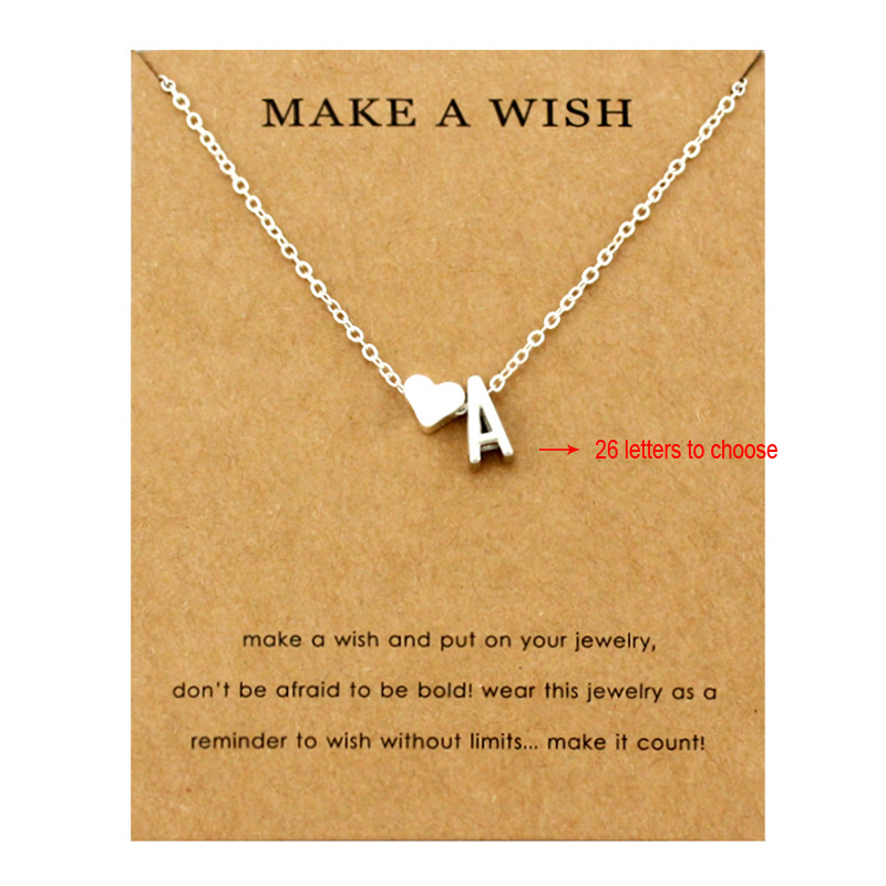 Heart Initial Pendants Necklaces Personalized Letters Necklace Name Jewelry Women Men Accessories Girlfriend Lover Couple Gift