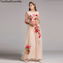 2019 high quality black mesh flower embroidered maxi dress women long sleeve o-neck a-line vintage elegant long party dresses цены