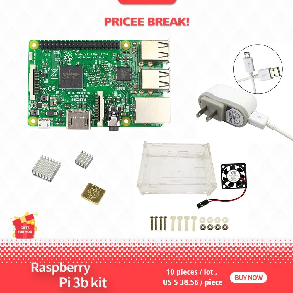 Raspberry Pi Modello B kit 3-pi 3 bordo/pi caso 3/5 V 2.5A di Potere DEGLI STATI UNITI alimentazione/dissipatore di caloreRaspberry Pi Modello B kit 3-pi 3 bordo/pi caso 3/5 V 2.5A di Potere DEGLI STATI UNITI alimentazione/dissipatore di calore