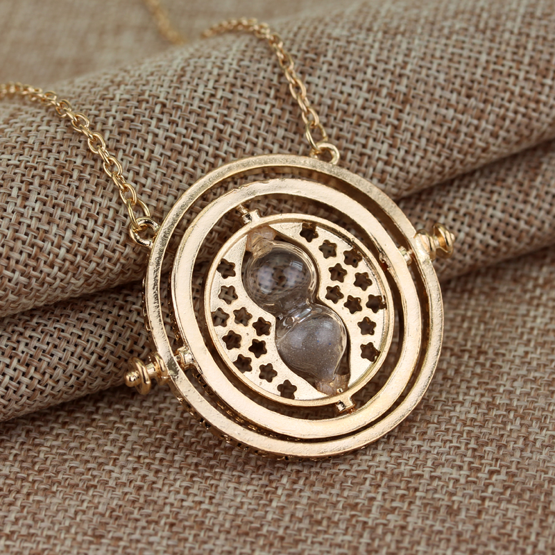 Gold Silver Plated Big Time Tuner Necklace Hermione Granger Rotating Hourglass Necklaces & Pendants Time Travel Jewelry