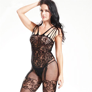 2020 Black Bodystocking Fishnet Sheer Mesh Bodysuit Sexy Leotard Sex Clothes Open Crotch Mesh Flower Hot Stocking On The Body(China)
