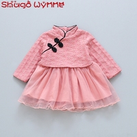 Chinese Style Winter Baby Girls Leaf Mesh Ball Gown Tutu Kids Princess Dress Birthday Party Vintage cheongsam vestidos
