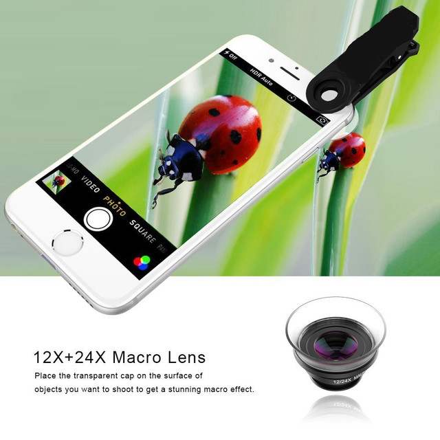 APEXEL Professional 4K Wide lens 0.6X HD super wide angle lens and 12-24X macro lens for iPhone 8 7s plus HTC cellphone 1824X 3