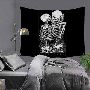 Image 2 - Cilected siyah ve beyaz korku kafatası goblen ev mobilyası duvar asılı Polyester masa örtüsü battaniye plaj havlusu Mat 9 renk