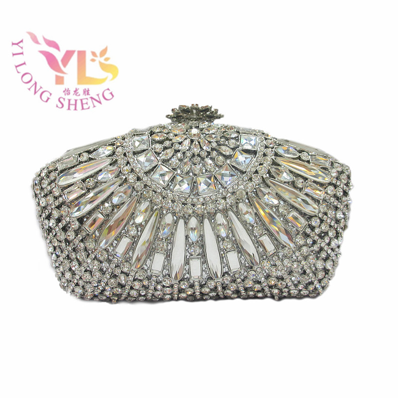 Silver Clear Box Bag Clutch Women Fashion Silver Crystal Clutch Bag Beaded with Rhinstone and Glass YLS-G09 silver metal clutch bag with stone clutch evening bags women stylish and simple silver clutch bag yls how24