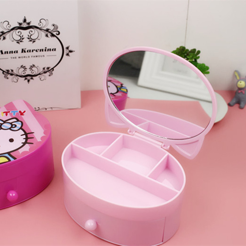 1pcs Hello Kitty double-deck hair accessory Jewelry Debris Storage Box Bijoux Box Case Makeup Tools Table Organizer With Mirror