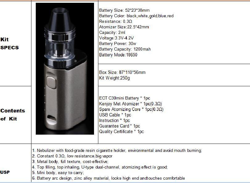 Original electronic cigarette box mod ECT C30 mini battery with Kenjoy Met Atomizer 2ml ect c30mini 30w vaporizer vape mod kit