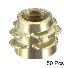 Uxcell 50pcs M4x8 M5x10 M6x13 Hex-Flush Threaded Insert Bronze Tone Zinc Alloy Furniture Nuts Wood Nut High Quality