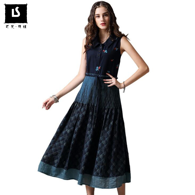 Women fashion vintage embroidery lapel dresses sleeveless vest dress Casual ladies Drawstring slim waist large swing