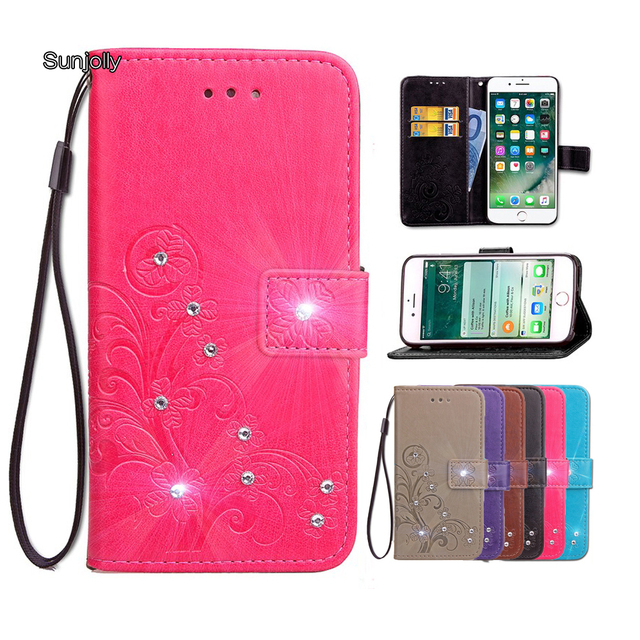 fe530a5c3a40 Sunjolly Lanyard Leather Case for MOTO Z2 Play Grass Rhinestone Flip Card  Wallet Holder Cover coque for Motorola MOTO Z2 Play