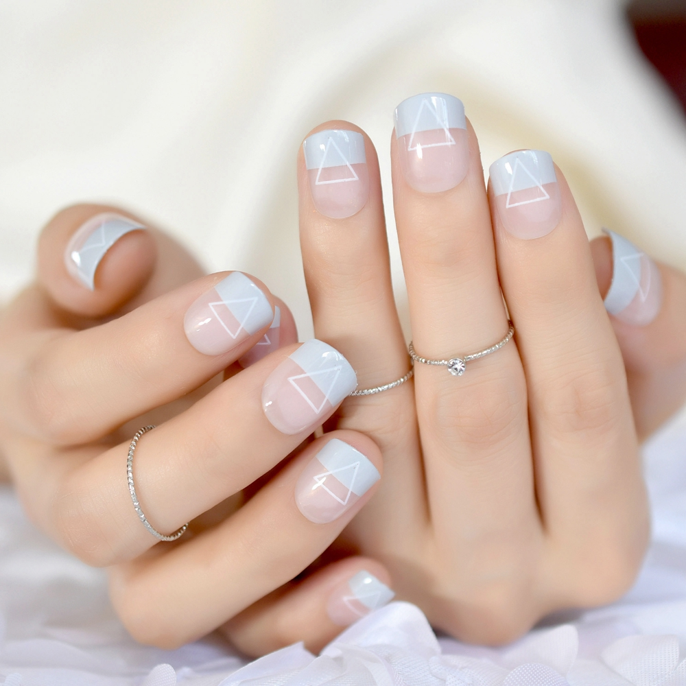 24 Cool French Tip Nail Designs Light Blue Triangle Short Ladies ...