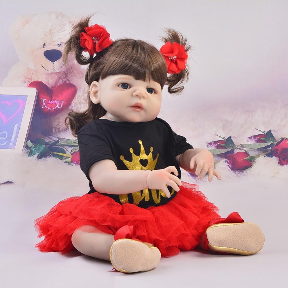 Echt Wie Prinzessin Reborn Baby Puppen Neugeborenen 23 ''57 cm Volle Silikon Körper Reborn Babys 2018 DIY Spielzeug Für mädchen Geburtstag Geschenke-in Puppen aus Spielzeug und Hobbys bei  Gruppe 1