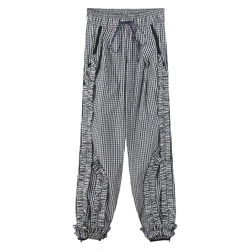 Pantalones Mujeres Alta Nueva Plaid Llegada Tobillo Cintura Gy201845 Oscuro Longitud Streetwear Moda Gris Colmena Gruiiceen Cordón De qtwAt