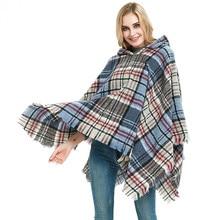 лучшая цена 2019 Fashion Pashmina Women Scarf Thicken Warm Winter Plaid Scarf Shawl Reversible Cape Shawl Wrap Blanket Warm Poncho