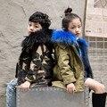 Casaco de Pele Verdadeira Jaqueta Militar de Camuflagem do exército Capa De Chuva Blusão Roupa ao ar livre Jaqueta com capuz de pele de guaxinim exército verde para as crianças