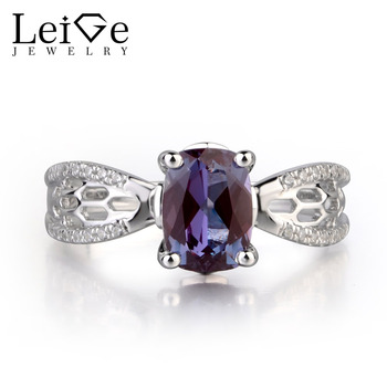 Leige Jewelry Lab Alexandrite Color Changed Gemstone Cushion Cut Prong Setting Wedding Rings June Birthstone 925 Sterling Silver