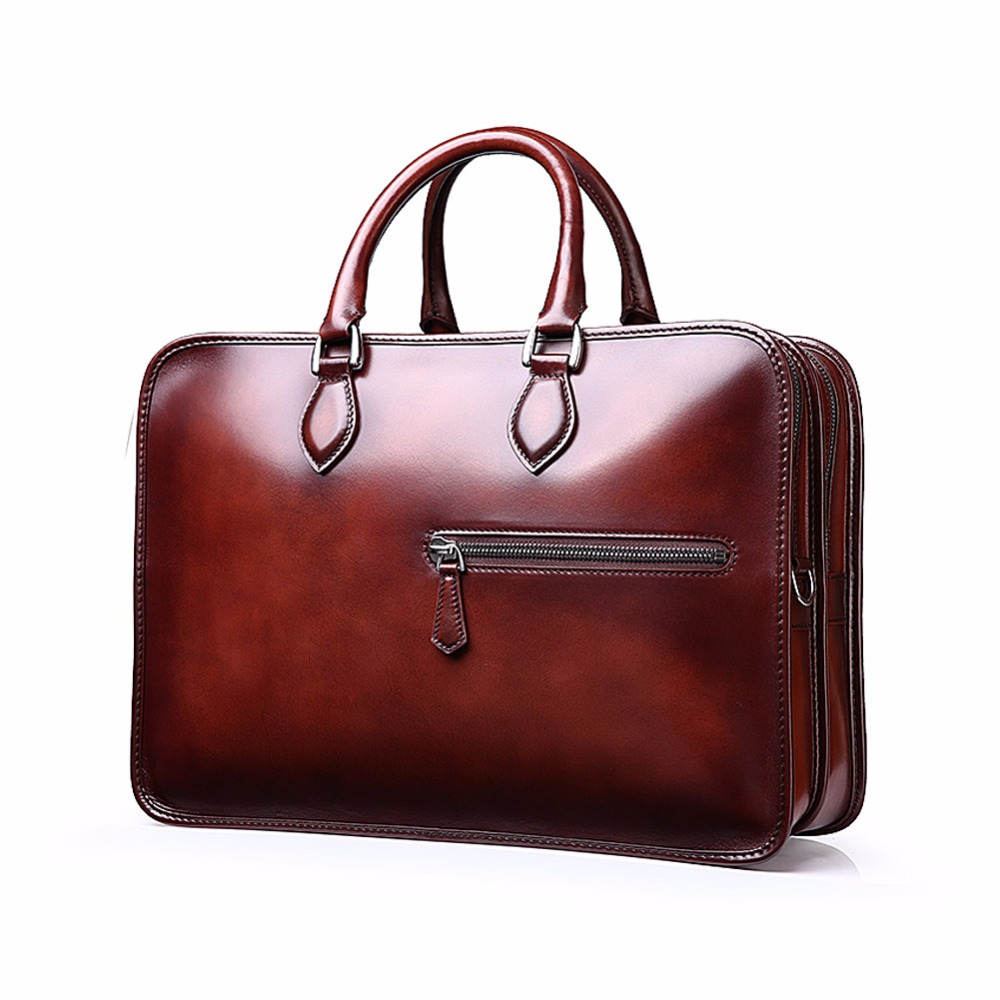 цена TERSE Wholesale Price Men Business Briefcase Handmade Venezin Cow Leather Handbag Shoulder Bag 4 Color in Stock Dropshipping 361 онлайн в 2017 году
