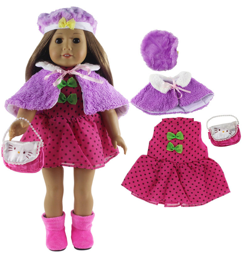 Image 5 - 5 Set Fashion Style Clothing Doll Clothes+4 hats+4 bags+one pairs tights for 18 inch doll clothes american doll accessoriesDolls Accessories   -