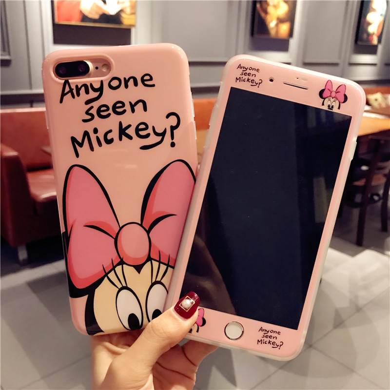 For iPhone X Cartoon Minnie phone Case + Tempered Glass Screen Protector Film for Apple iPhone 6 6s Plus 7 7plus 8 8plus