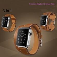 3 en 1 cuero genuino bandas reloj de cuero correa brazalete para apple watch 38mm/42mm con adaptador