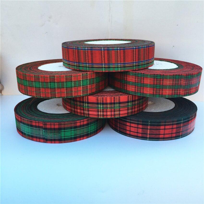 Мм 5 ярдов 25 мм красный решетки корсажная лента Луки для рождественской вечеринки подарок декор ремесло