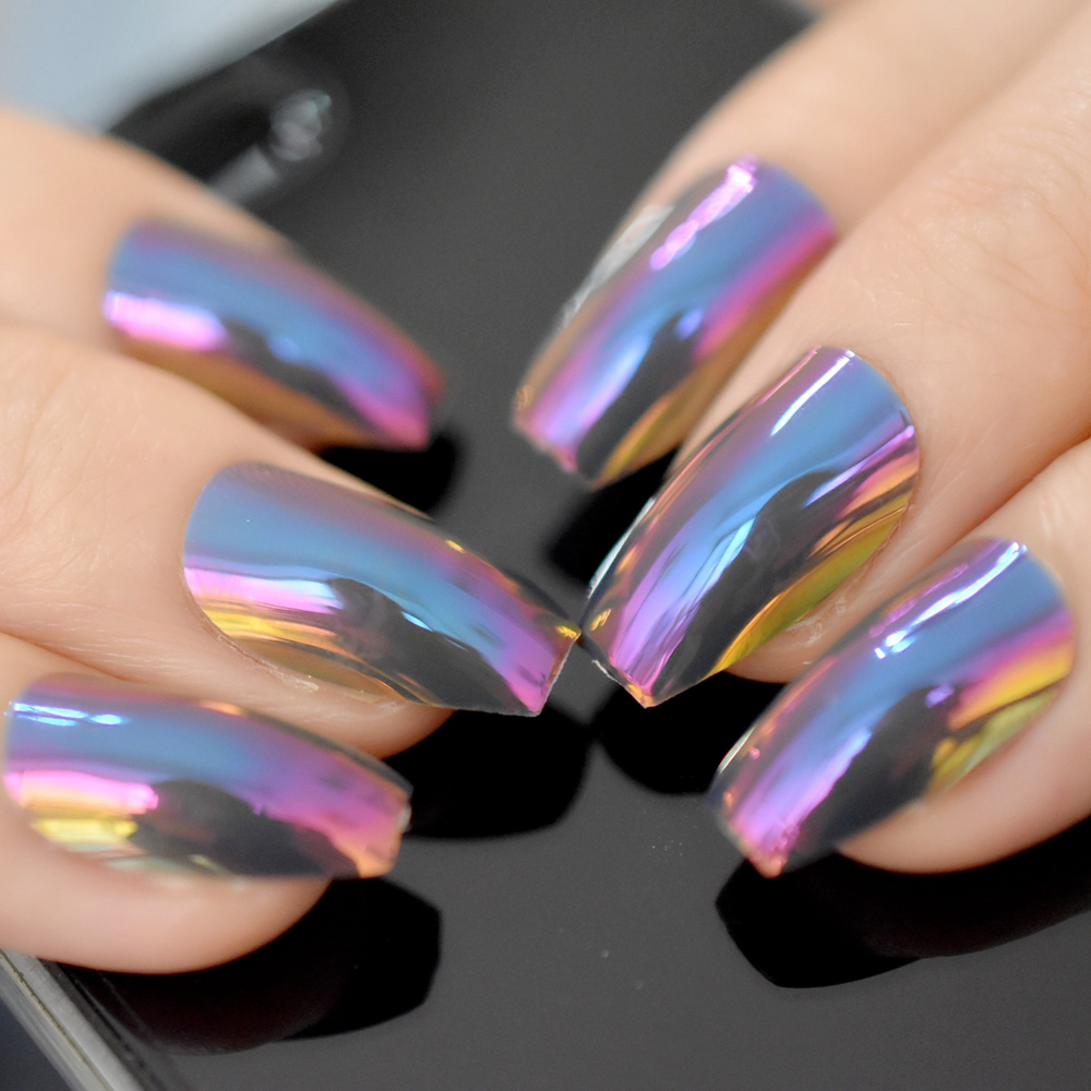 New Ballerina Nail Tips Hologram Chameleon Coffin Shape False Fake ...