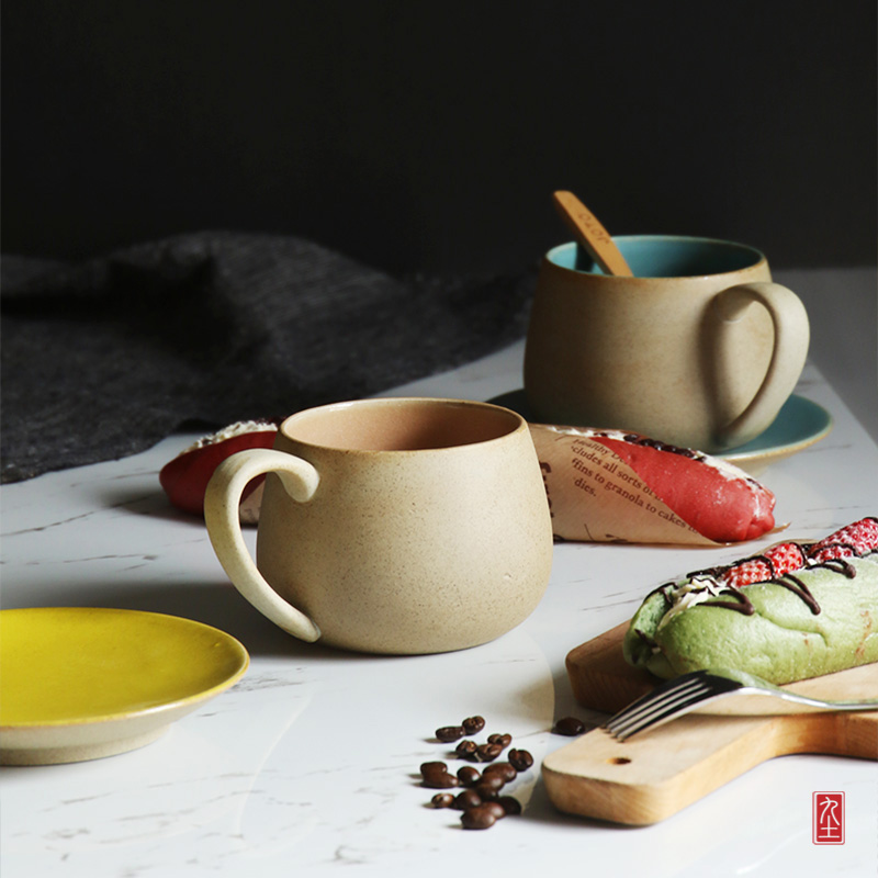 handmade personality coffee mug simple high quality ceramic cup with tray and handgrip pottery Japan style brand cups and mugs