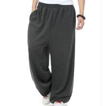 Мужские брюки для бега в стиле хип-хоп размера плюс на зиму и весну, Свободные Мешковатые Свободные флисовые повседневные штаны с эластичной резинкой на талии