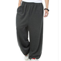 Plus Size Winter Spring Hip Hop Joggers Men Harem Sweatpants Loose Baggy Wide Leg Fleece Casual Pants Elastic Waist Trousers