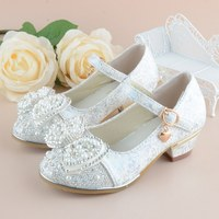 Girls Princess Shoes 2017 New Spring Printing Leather Children Wedding Sandals High Heels Bowknot Dancing Kids