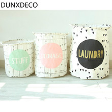 DUNXDECO 1PC Modern Geometric Triangle Fresh Linen Cotton Home Office Storage Basket Table Toys Cloth Organiser Decoration