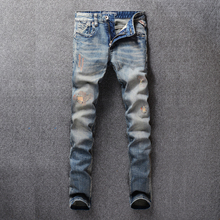 Italian Vintage Designer Men Jeans Retro Slim Fit Streetwear Ripped homme Classical Denim Long Pants Hip Hop