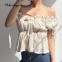 f1341131562bb4 Blouse Shirt 2019 Summer Shirt Drawstring Waist Slim Frill Trim Shirts Puff  Sleeve Print Top Sweet