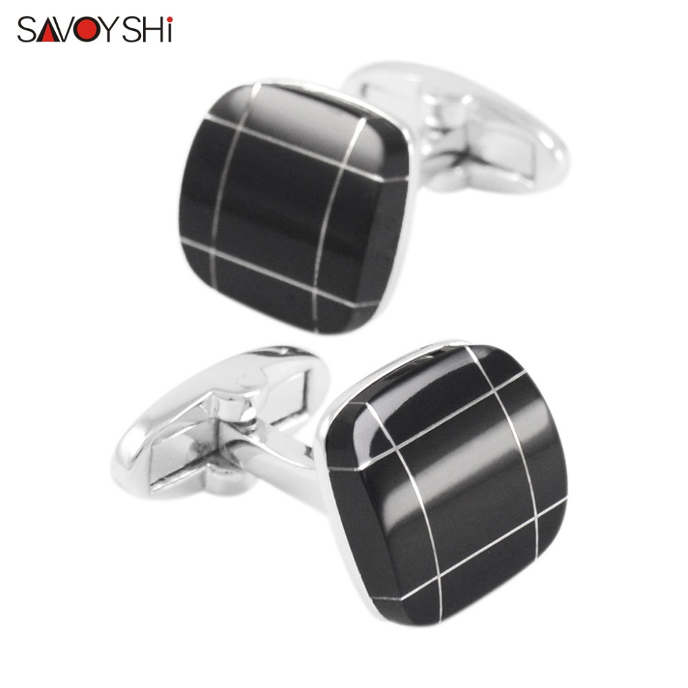SAVOYSHI Black Stone Cufflinks for Men Shirt Cuff бөтелкелер Fine Gift Жоғары сапалы шаршы қолғаптар Сілтемелер Brand Fashion Men Jewelry