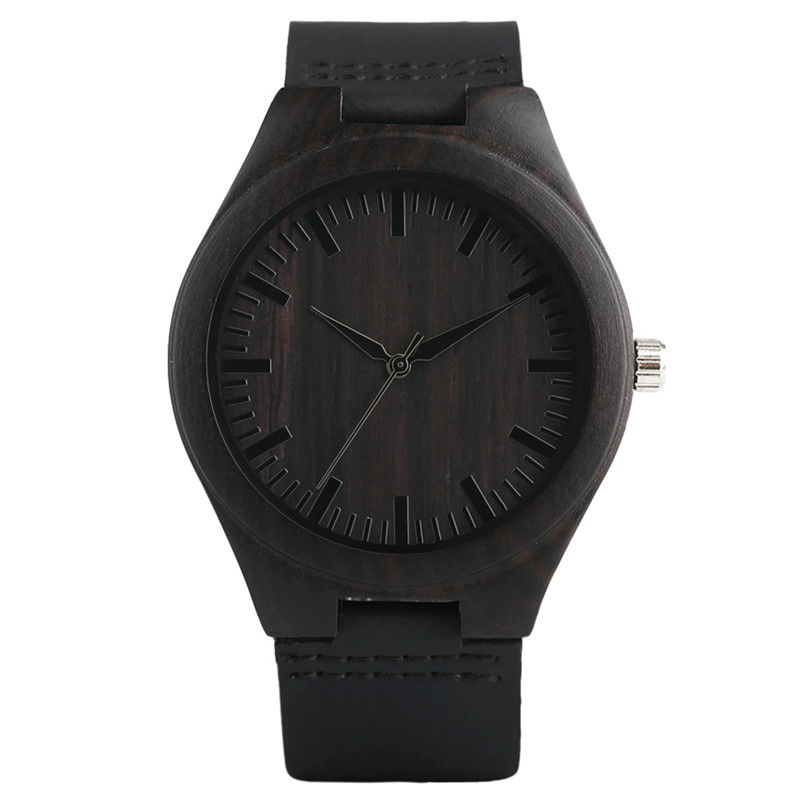 Modern Full Black Men's Ebony Wood Watch Quartz Hand-made Light Bamboo Wristwatch with Genuine Leather Watchband Gift for Mens 2017 new arrival hand made full bamboo design quartz wristwatch bracelet clasp green beige dial simple casual male watch gift