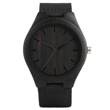 Modern Full Black Men's Ebony Wood Watch Quartz Hand-made Light Bamboo Wristwatch with Genuine Leather Watchband Gift for Mens