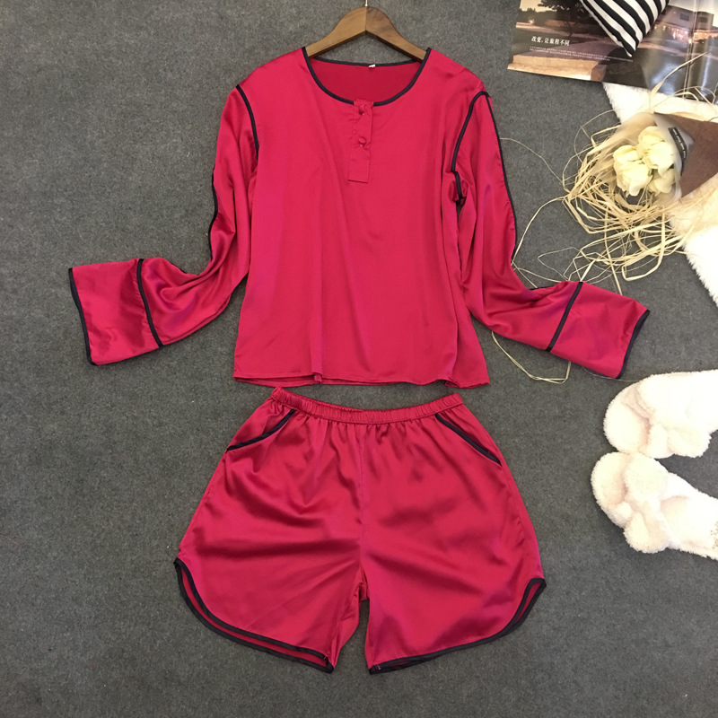 Provided Silk Women Nightwear Long Sleeve Blouse And Short Shorts 2 Pieces Sleepwear Female Summer Sexy Pajama Set Men's Sleep & Lounge Men's Pajama Sets
