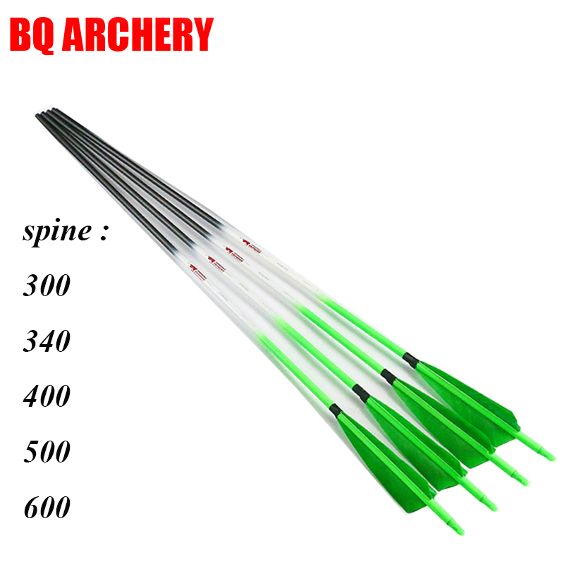 Linkboy archery pure carbon arrows ID6 2mm spine300 340 400 500 600 compound traditional bow hunting