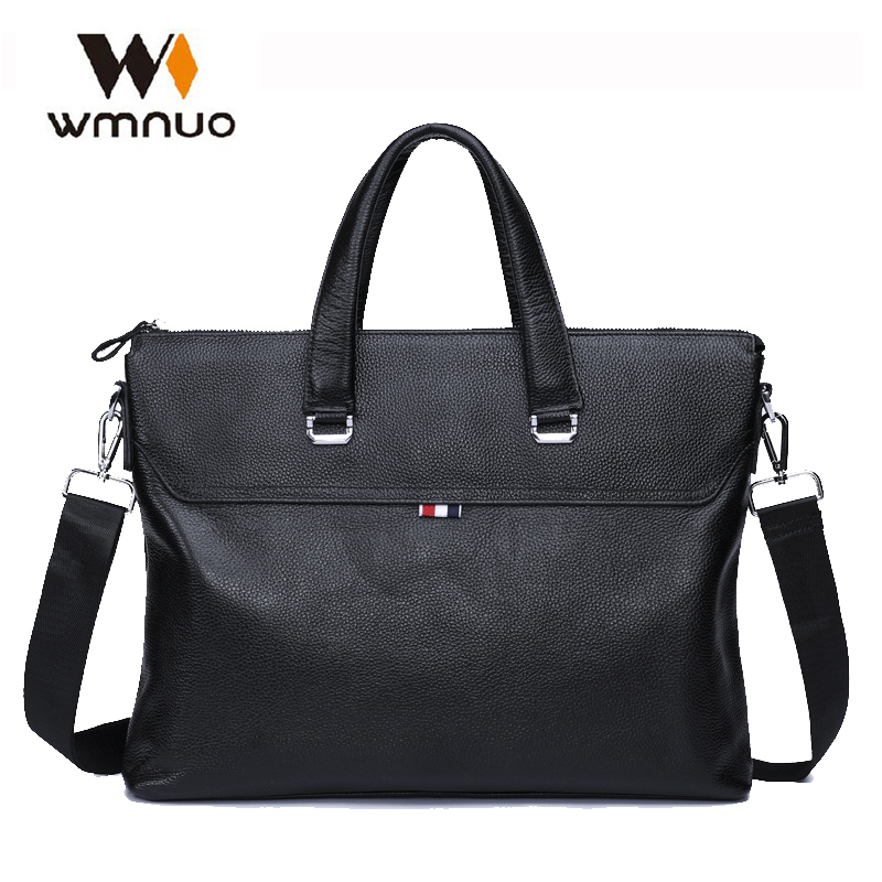 Wmnuo Brand Business Men Briefcase Bag Genuine Cow Leather Laptop Bag Casual Man Shoulder bags Men Messenger Zipper Computer Bag genuine leather men bags brand men laptop briefcase business bag cow leather handbag shoulder bag messenger bag 1a