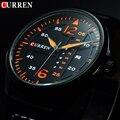 2016 curren reloj de los hombres de curren relojes hombres marca de lujo caliente reloj Hombre Militar Hombres Reloj de Cuero Fecha de Cuarzo Negro Ruso relojes
