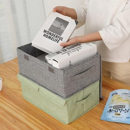 Cotton and linen washed large clothes storage box fabric folding clothing wardrobe