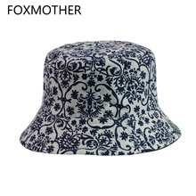 FOXMOTHER New Fashion Vintage China Traditional blue and white porcelain Print Bucket Hats For Women Mens Caps