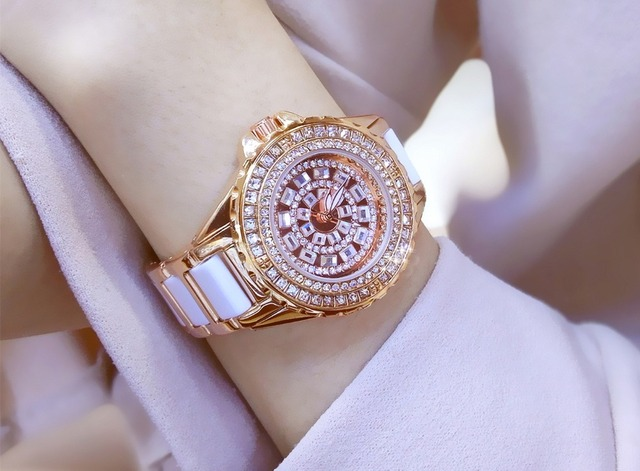 02b043292 ارتفع الذهب النساء العلامة التجارية الشهيرة بلينغ الفاخرة الكامل الماس ووتش  حقيقية السيراميك ووتش المرأة الجديدة