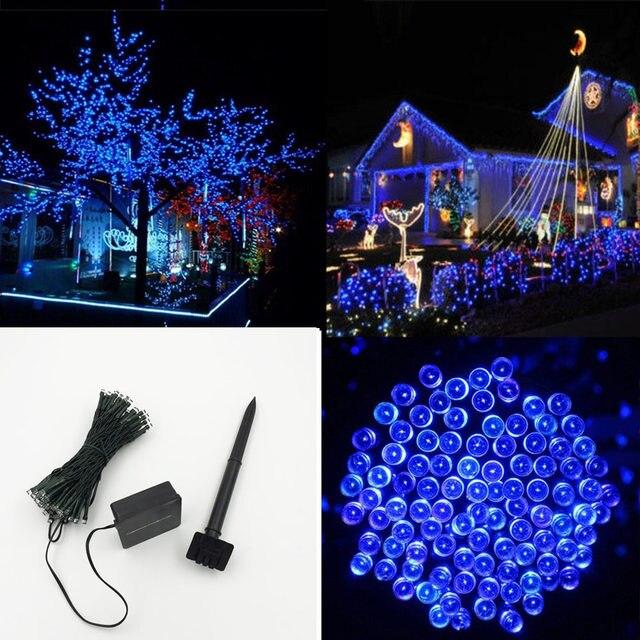 multi color solar outdoor led christmas lights 100 led tubes wedding party garden xmas string