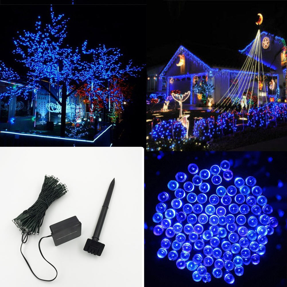 Multi Color Solar Outdoor Led Christmas Lights 100 Led Tubes Wedding Party Garden Xmas String Light Lighting Fairy Lights